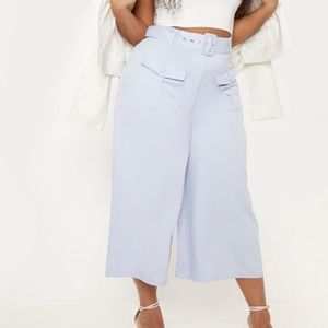 Plus Dusty Blue Pocket Detail Belted Culottes